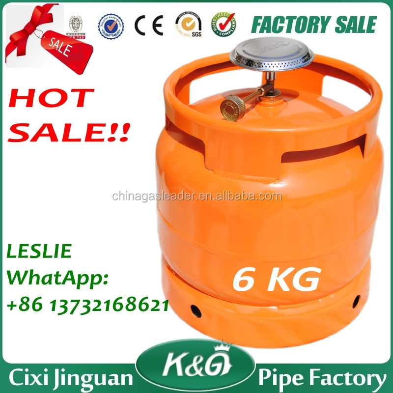 Export Nigeria Tanzania Kenya Cooking 6KG LPG Gas Cylinder, Gas Stove With Cylinder, Empty LPG Gas Cylinder With Valve 16x1.5
