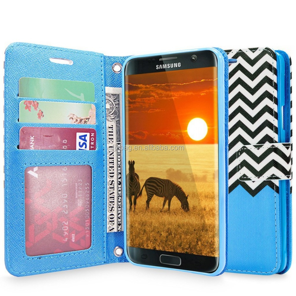 Fanshion Color Printing Leather flip stand wallet case cover for samsung galaxy s7 case