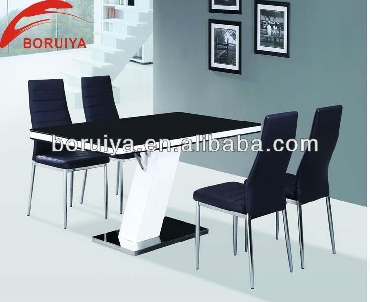 DT005 modern 4 seater glass dining tables and chairs set