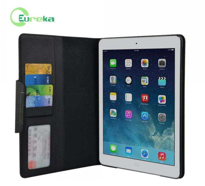 2014 Stylish stander PU leather case with sleep function for new ipad Air ipad 5