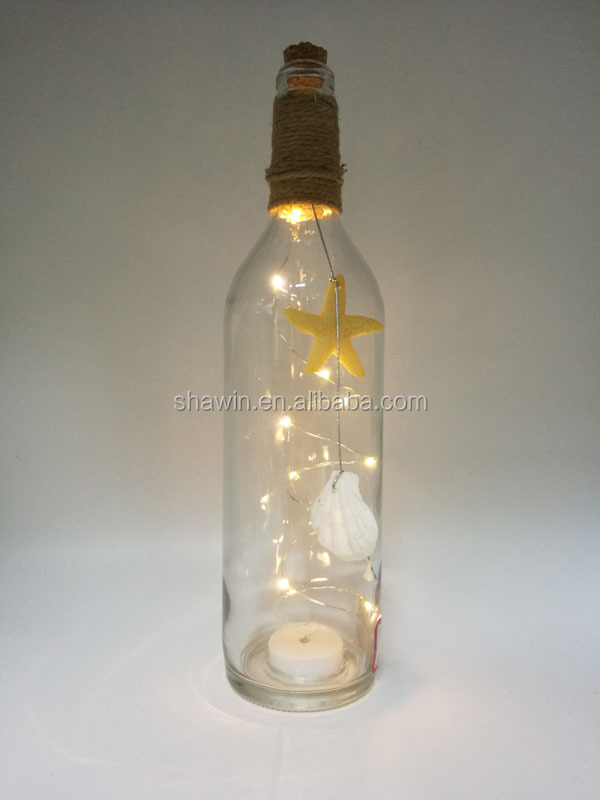 Clear Decorative Glass Bottles with LED Light inside and Hemp Rope and Shells outside Crafts Glassware for Home Decoration
