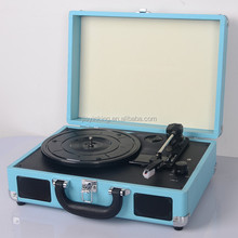 hot sale belt drive suitcase bluetooth vinyl record player with built-in two speakers music centers
