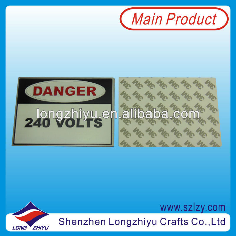 Rectangular chemical etching and paint filled made in Shenzhen Custom aluminum metal sticker with 3M self adhesive danger plate