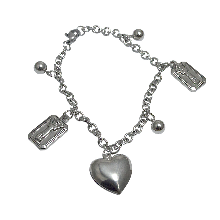 Lady's gift silver plated love stainless steel hip hop bangle bracelet with heart pendant