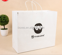 shopping/gift/ cheap small flat handle kraft paper bag with logo print