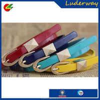 Hot sale candy color belt buckle custom with gold buckle for elegant lady belt made in cn