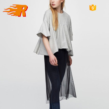 2017 Custom Women Gray Cotton Blouse With Frilled Hem