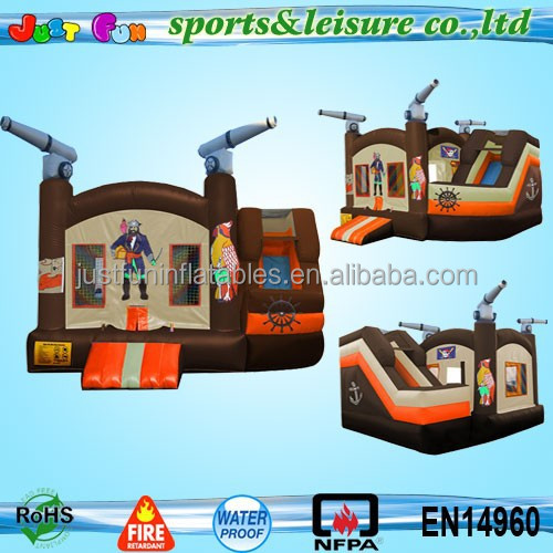 fantastic character bouncy castle inflatable pirate ship bounce and twist slide combo from China