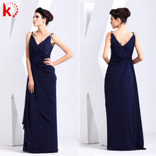 Hot sale Royal blue V-neck Exquisite sleeveless lady fashion dress elegant mother of the bride dress for fat