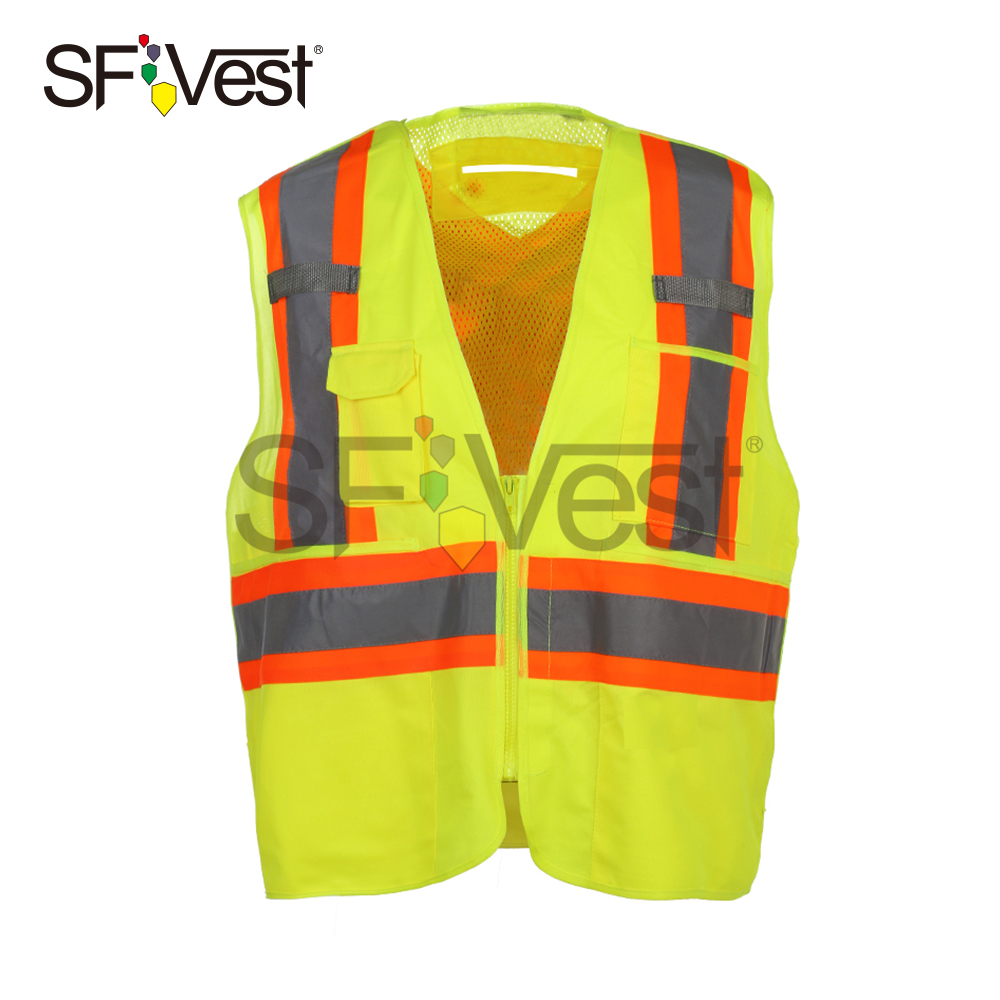 100% Polyester High Visibility Traffic PPE Surveyor Zip Mesh Safety Reflective Vests