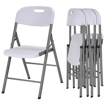 Leisure waterproof white plastic stacking folding dining chairs