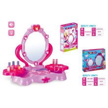 Lovely Plastic Luxury Vanity Makeup Dresser Table Play Set Toy with Light and Music