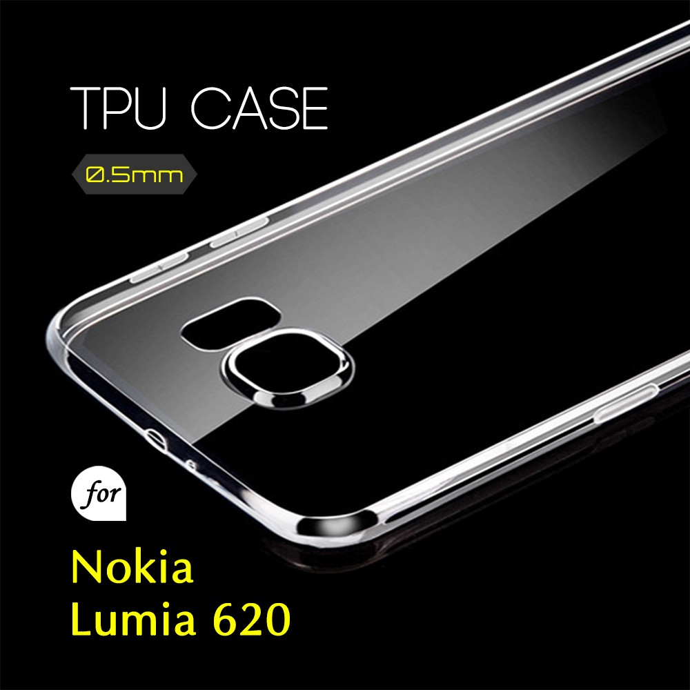 0.5mm Ultra Thin TPU Transparent Clear Protective Case for Nokia Lumia 620