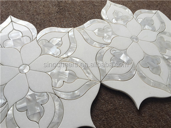 The mother pearl of shell waterjet mosaic backsplash tile