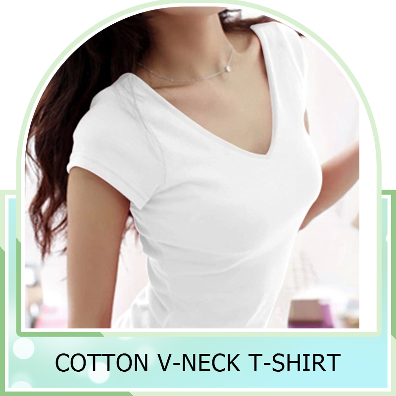 New Fashion Stretch Summer Women T Shirts Ms Solid Color Short Sleeve 100% Cotton v neck t shirt Women's Blank V-Veck T-Shirts