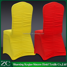 factory wholesale red and yellow white hotel restaurant ruffle of chair backl lycra ruched spandex chair cover for wedding