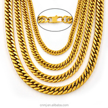 18K gold plated stainless steel cuban chain hip hop necklace