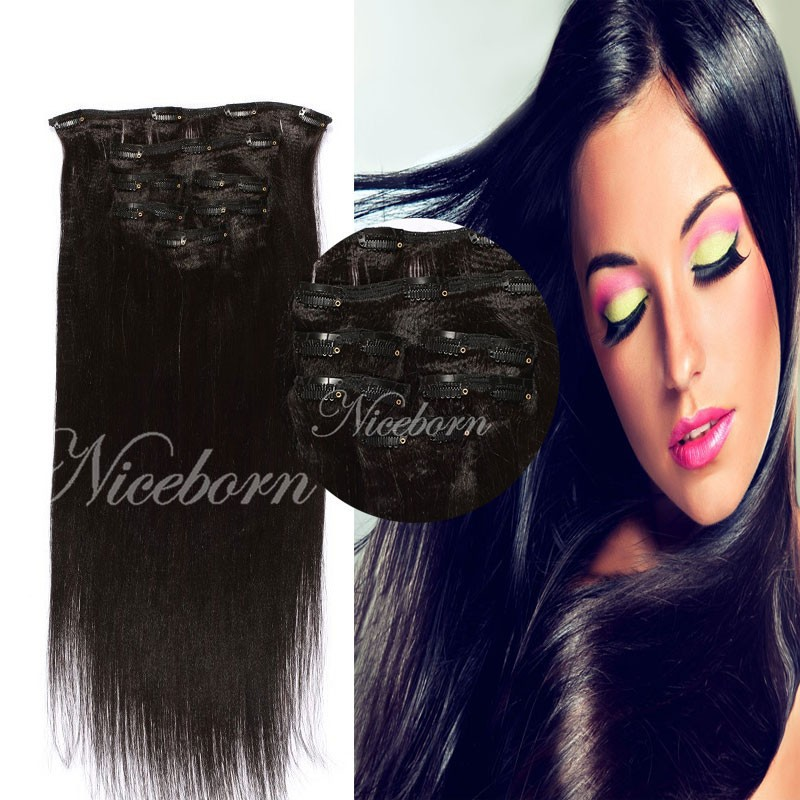 Remy Virgin Malaysian Hair Extension 120G Clip In Malaysian Hair Extensions Black Clip In Hair Extension