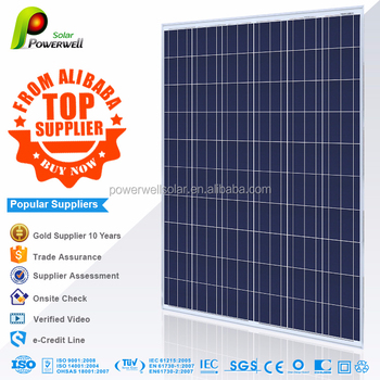 Powerwell Solar 250W Poly TUV,CE,SGS,CEC,IEC,ISO,CHUBB,INMETRO Approval Standard Top Supplier From Alibaba Solar Panel System
