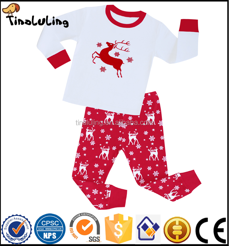 Factory Directly New Arrival Boys and Girls Render Emboridery Christmas Pajamas Kids Pyjamas Baby pajama