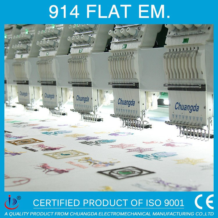 914 FLAT 14 HEADS TAJIMA INDUSTRIAL SEWING COMPUTERIZED EMBROIDERY MACHINE