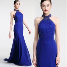 Lady tube dreses mermaid bodycon halter elastic wrap sequin see-through back navy blue bridesmaid dress