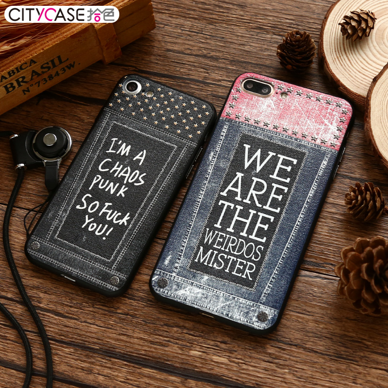 citycase Resale Jean Style Design Free sample Custom PC TPU Mobile Phone Case Cover Embossed for iPhone7 7plus