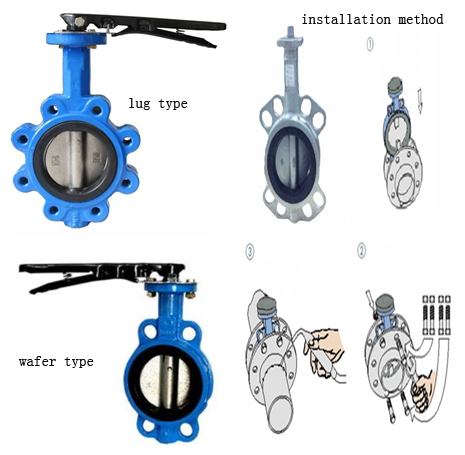 DN200 cast iron wafer type Butterfly Valve