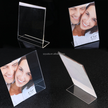 Slant Back L acrylic sign holder picture frame clear acrylic counter A4 menu stand