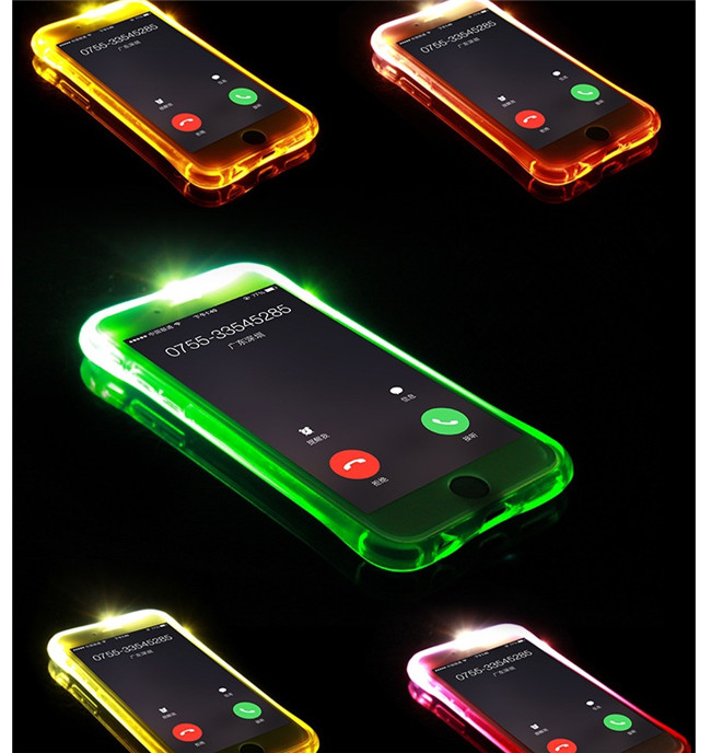 For iphone LED case with led light incoming telegram tpu cell phone for iphone 6s 7 iphone8 plus iphoneX