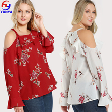 China suppliers latest design ladies boho chiffon cold shoulder plus size floral print women blouse tops