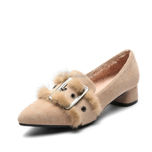 Latest Design Women High Heel Shoes Suede Uppers Warm Sneakers with Fur Inside