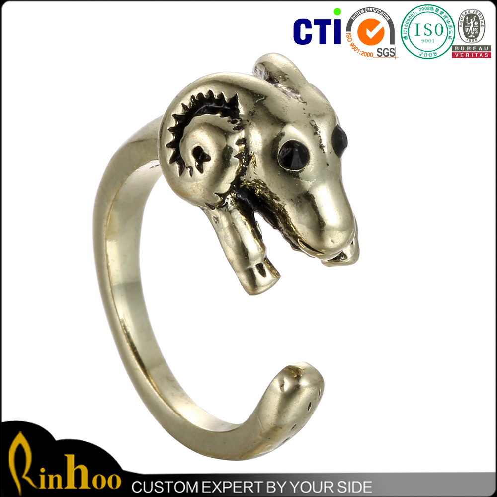 Promotional Top Sales Party Engagement Bronze Stainless Steel Ring With Animal Sheep