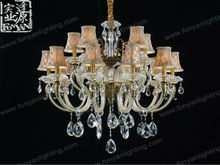 Unique Designer Empire Gold Chandelier with Asfour Crystals by Fonyan Lighting MDG6043-15