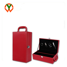 Wholesale PU Leather Handle Wine Box Travel Storage Holder Carrier