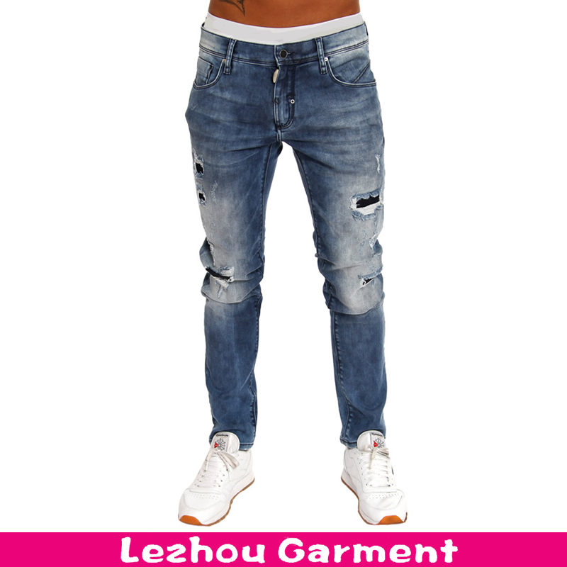 Stone wash distressed denim jeans men 2016 with holes