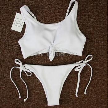 Just Arrivals STOCK White Ties Front With Pad Sexy Woman Ribbed Swimwear