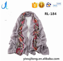 2017 Spring New Fashion Floral Embroidery Viscose Scarf Women Cotton Linen Long Scarves And Shawls