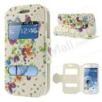 Colorful Butterflies Glitter Powder for Samsung Galaxy S Duos S7562 S7560 Dual Window Leather Case