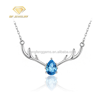 2018 Custom Oval Colorful CZ Silver Pendant Necklace