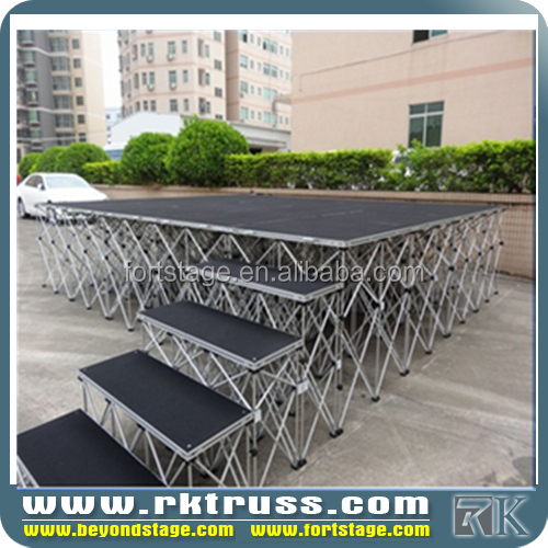 customized design 1.22*1.22 m school used portable stage aluminum folding stage cheap wooden stage for bj band