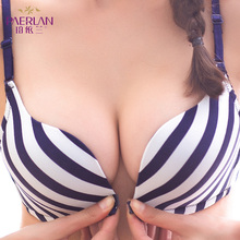 Wireless push up seamless sexy stripe bra Ladies no steel ring breathable bra in pakistan