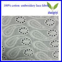 cheap 100% cotton floral fashion embrodiery lace fabric