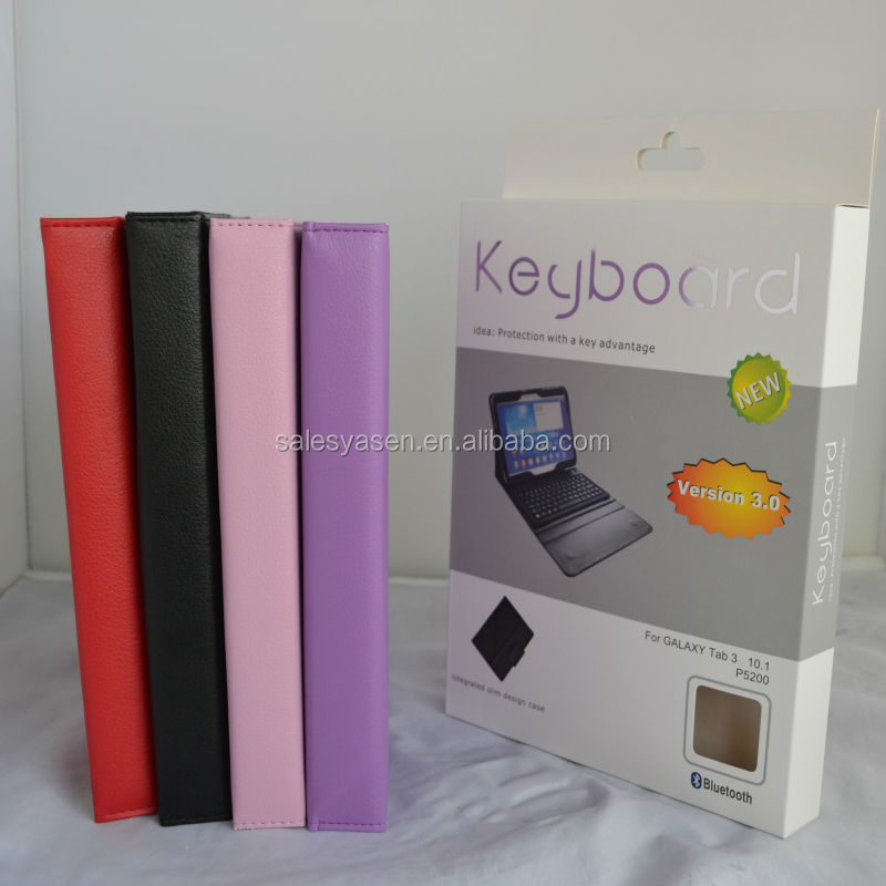 Bluetooth wireless 10.1 inch silicone keyboard Leather Case For Samsung P5200 Galaxy Tab 3 10.1