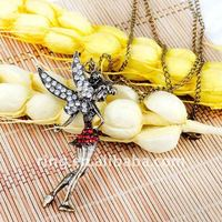 Hot selling antique angel rhinestone wing fashion girl pendant long sweater alloy chain necklace