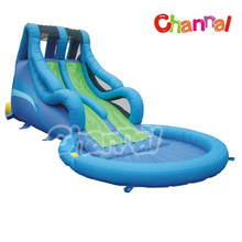 New blue theme residential PVC inflatable water slide for kids