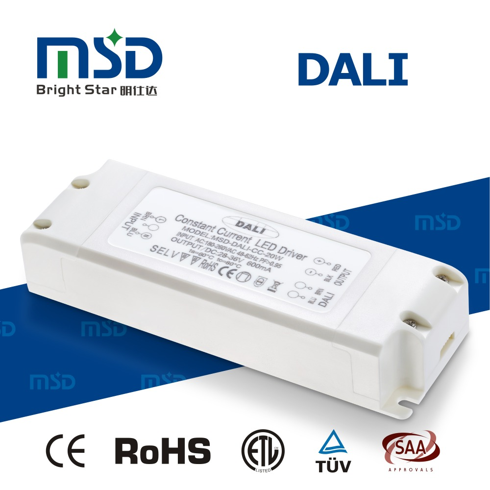 ce rohs saatuv led drivers dali dimming switching power supply 20w constant current adapter 350ma 700ma 1050ma with knx system