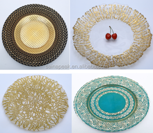 factory handmade Wholesale silver gold beaded plate bead charger glass plate