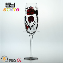 Black hand painting colored decal champagne glass customized size with long stem crystal holiday model