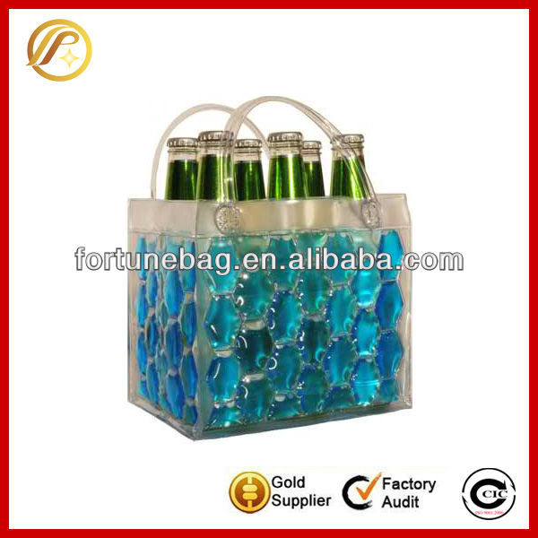 6 can liquid fill pvc ice bag for cooling wine